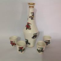 CONJUNTO LICOR PORCELANA DECORADO COM CARROS ANTIGOS